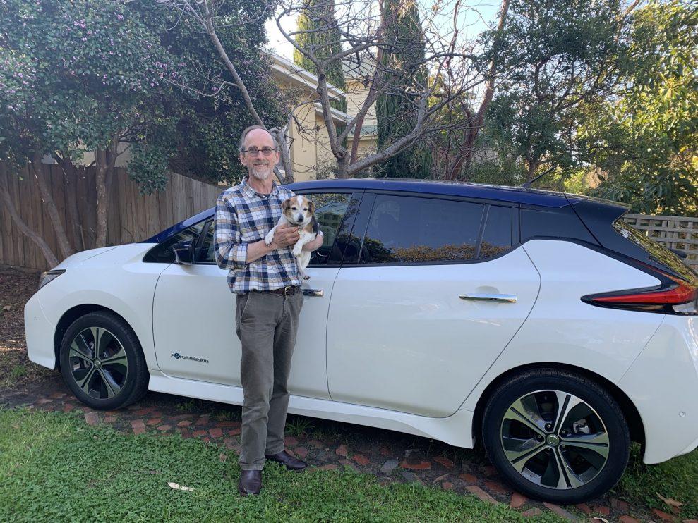 Scott Barnes and his Nissan Leaf